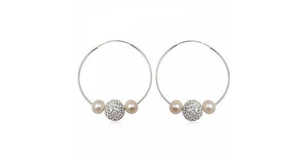 Dámské stříbrné náušnice Miss Jones s kamínky a perlami