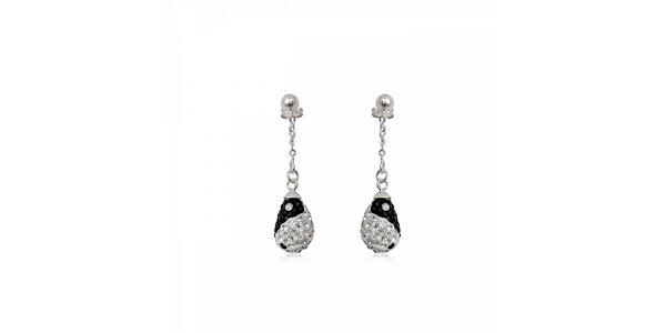 Dámské stříbrné náušnice Miss Jones s černými a čirými kamínky