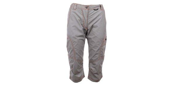 Dámské šedé capri kalhoty s prošíváním Hannah