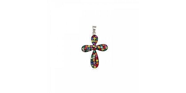 Dámský stříbrný přívěsek Miss Jones křížek s barevnými kamínky