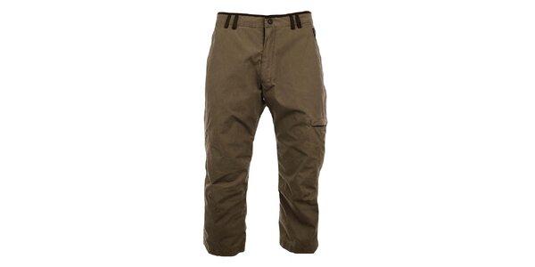 Pánské hnědé 3/4 kalhoty s kontrastním lemem Hannah
