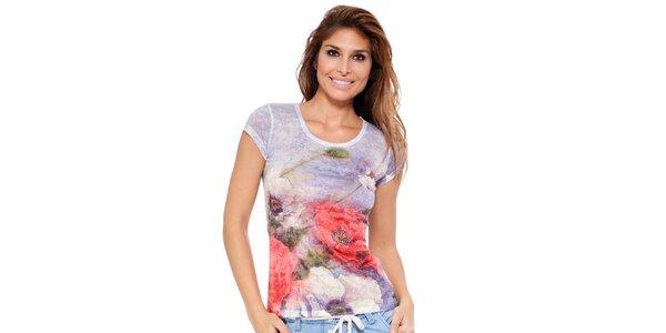 Dámské tričko s květinovým potiskem a zdobením Peace&Love