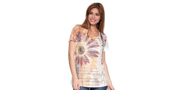 Dámské tričko s potiskem a aplikacemi Peace&Love