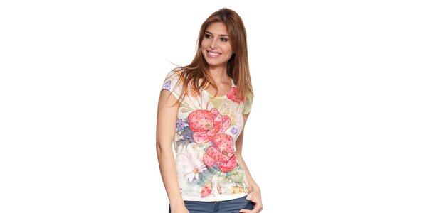 Dámské barevné tričko s aplikacemi Peace&Love