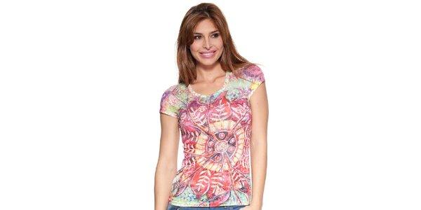 Dámské barevné tričko Peace&Love
