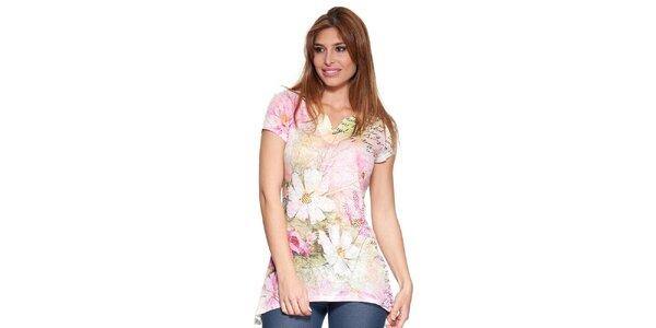 Dámské prodloužené tričko s potiskem Peace&Love