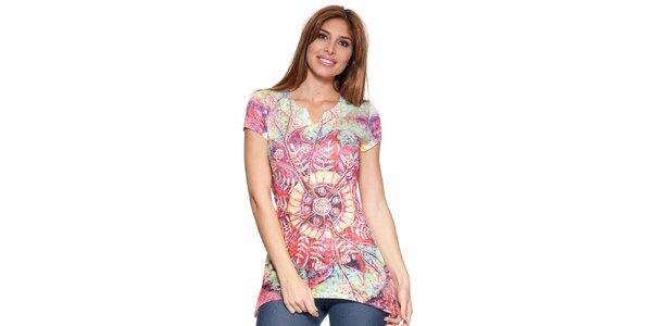 Dámské prodloužené tričko s barevným potiskem Peace&Love