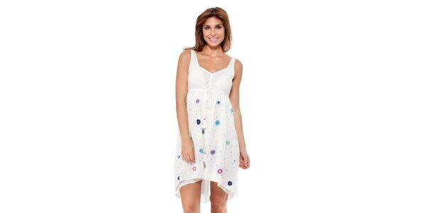 Dámské bílé šaty s květinkami Peace&Love