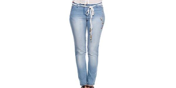 Dámské modré džíny s ozdobným páskem Peace&Love
