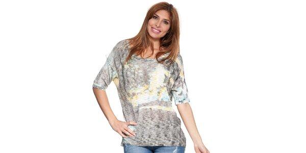 Dámský šedý batikovný svetřík Peace&Love