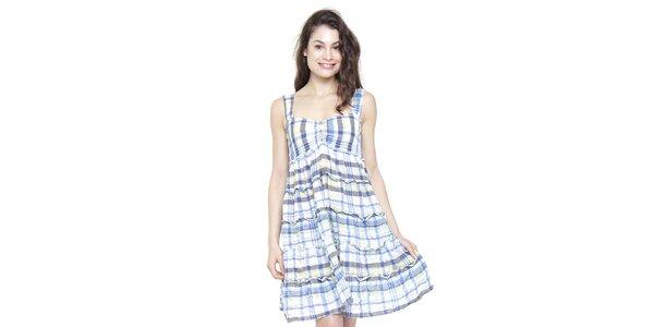 Dámské modro-bílé kostkované šaty Peace&Love