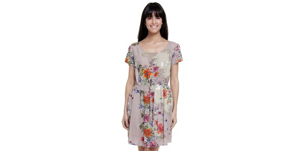 Dámské šedé šaty Peace&Love s květinovým vzorem