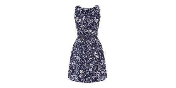 Dámské modré šaty se vzorem Yumi