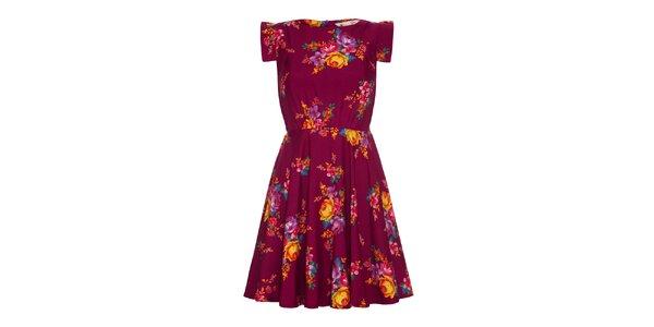 Dámské vínově červené šaty s květinami Yumi