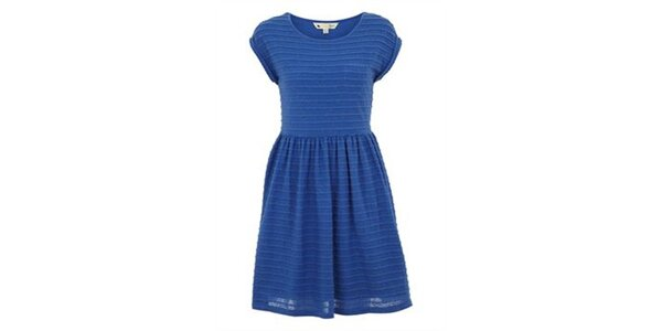 Dámské modré šaty s reliéfními proužky Yumi