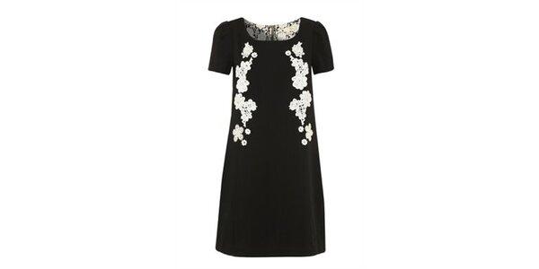 Dámské černé šaty s bílými kvítky Yumi