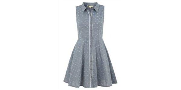 Dámské denimově modré šaty bez rukávů Yumi