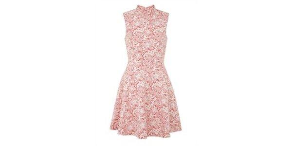Dámské korálovo-bílé vzorované šaty Yumi