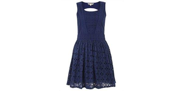 Dámské tmavě modré perforované šaty Yumi