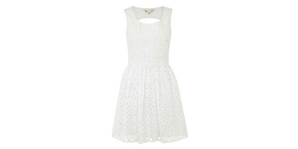 Dámské bílé perforované šaty Yumi