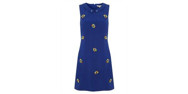Dámské modré šaty s barevnými kamínky Yumi