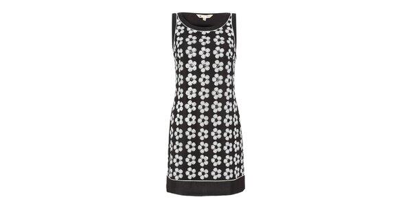 Dámské černé šaty s bílými květy Yumi