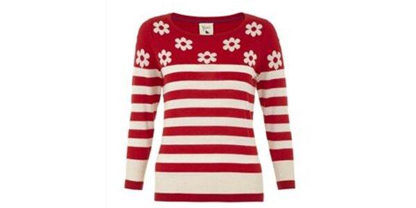 Dámský červeně pruhovaný svetr s kytičkami Yumi