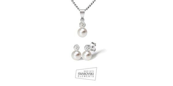 Dámská sada stříbrných šperků Swarovski Elements - náušnice a náhrdelník