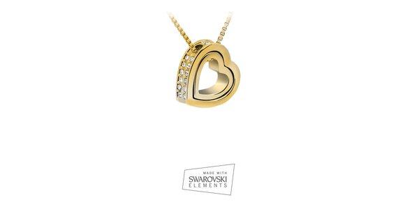 Dámský pozlacený náhrdelník se srdcovým přívěskem Swarovski Elements