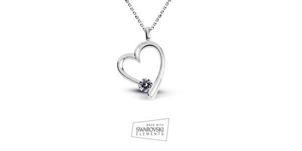 Dámský srdcový náhrdelník s kamínkem Swarovski Elements