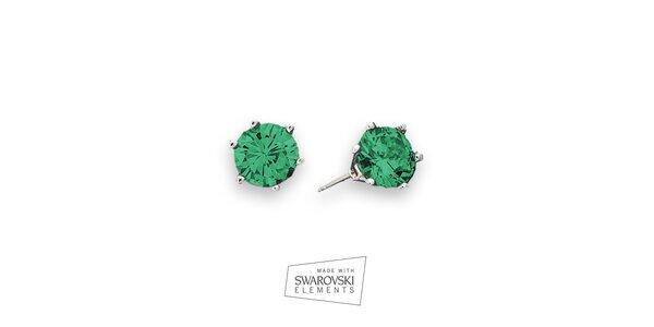 Dámské náušnice se zelenými kamínky Swarovski Elements