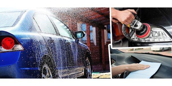 Ruční mytí vozu s voskováním + čištění interiéru, renovace světlometů nebo…