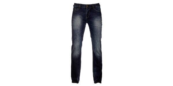 Pánské tmavě modré džíny Exe Jeans s ozdobným zipem