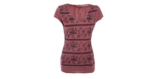 Dámské růžovočervené tričko s květinkami Angels Never Die