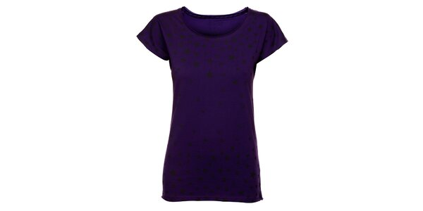 Dámské purpurové tričko Exe Jeans s černými hvězdičkami