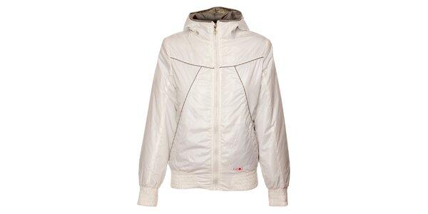 Dámská bílá zimní bunda Exe Jeans s béžovými detaily