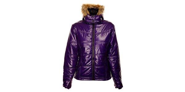 Dámská purpurová prošívaná zimní bunda Exe Jeans s kožíškem