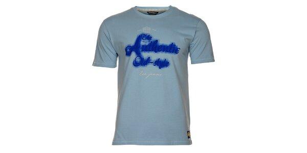 Pánské světle modré tričko exe Jeans s modrým potiskem
