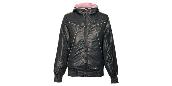 Dámská ocelově šedá zimní bunda Exe Jeans s růžovými detaily