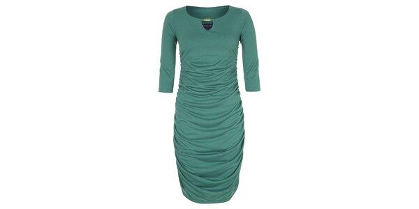 Dámské zelené šaty se zlatou ozdobou Hot Squash