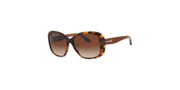 Dámské jantarovo-hnědé sluneční brýle Calvin Klein s kovovými detaily
