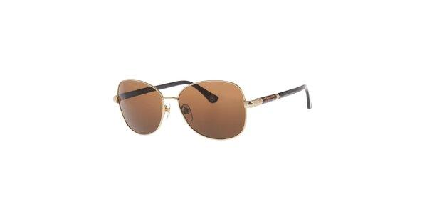 Dámské kovové oválné sluneční brýle ve zlatém provedení Michael Kors