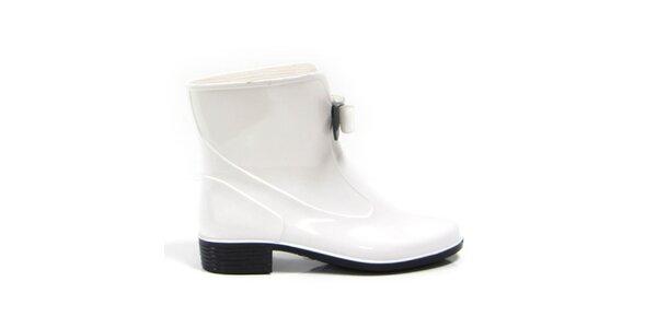 Dámské bílé kotníkové boty s černo-bílou mašličkou Favolla