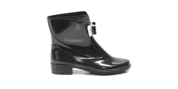 Dámské černé kotníkové boty s černo-bílou mašličkou Favolla