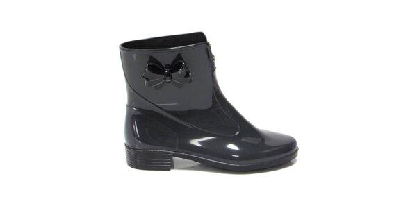 Dámské tmavě šedé kotníkové boty s mašličkou Favolla