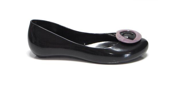 Dámské černé baleríny Favolla s růžovou růžičkou