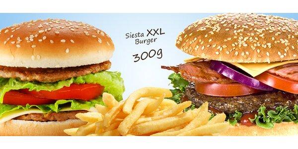 Dvakrát Siesta Fresh Burger s extra porcí hranolek