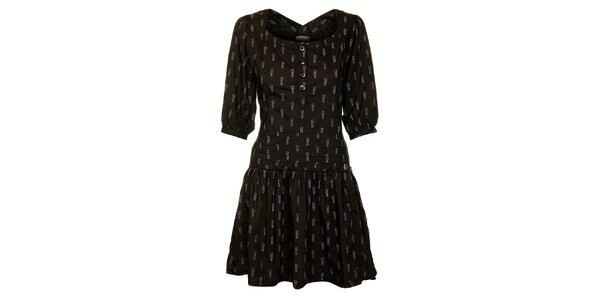 Dámské černé šaty Freesoul s fialovým potiskem
