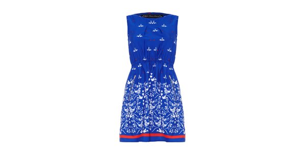 Dámské sytě modré šaty s potiskem Iska