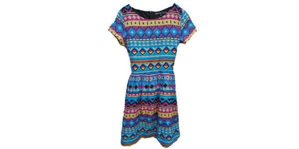Dámské barevné šaty s aztéckým potiskem Iska